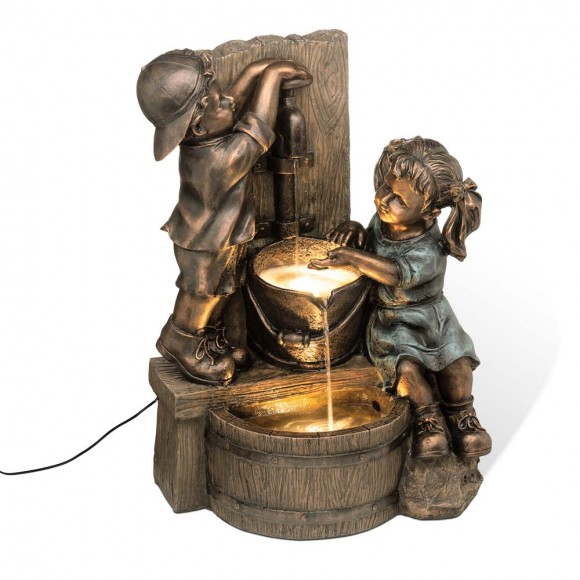 """Glitzhome 25.46""""H Polyresin Boy and Girl Sculptural Outdoor Fountain With Pump"""