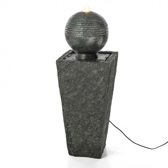 """Glitzhome 31.69""""H Polyresin Rippling Floating Sphere Pedestal Outdoor Fountain With Pump & LED Light"""