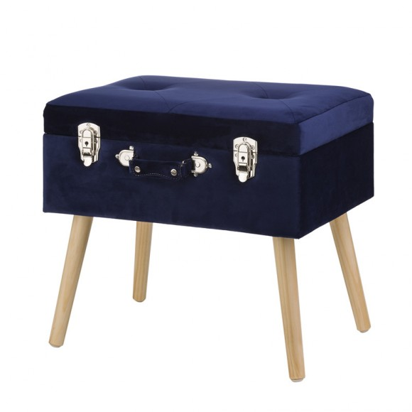 "Glitzhome 19.70""L Navy Blue Velvet Upholstered Storage Stool with Natural Solid Rubberwood Legs"