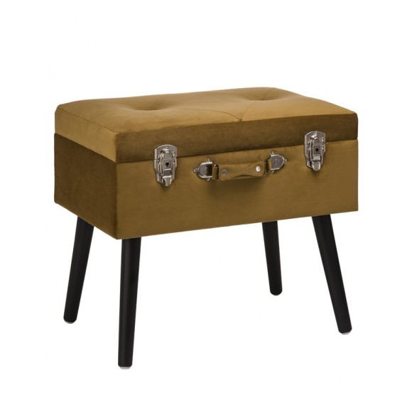 "Glitzhome 19.70""L Glod Velvet Upholstered Storage Stool with Black Solid Rubberwood Legs"