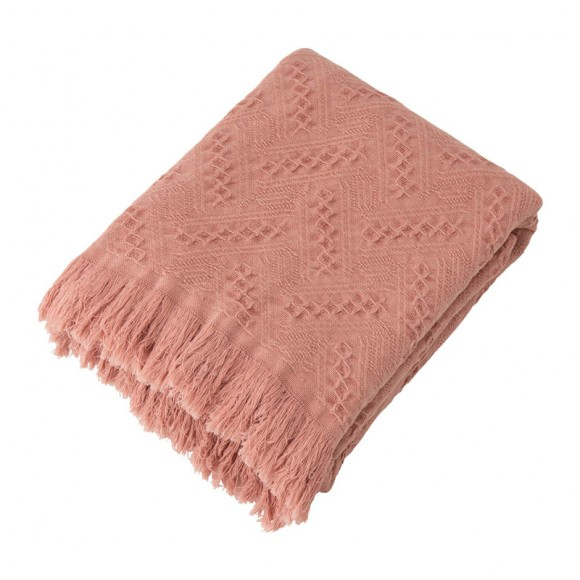 Glitzhome Coral Pink Grid Cotton Woven Throw
