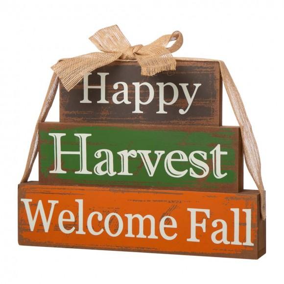 """Glitzhome 11.81""""L Wooden Happy Harvest Block Set"""