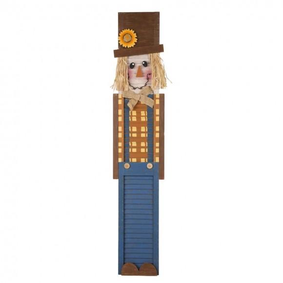 "Glitzhome 42""H Wooden Scarecrow Porch Sign"