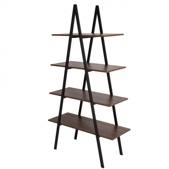 "Glitzhome 64.57""H Metal/Wooden 4-Tier Bookcases and Ladder Shelf"