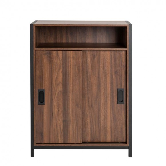 "Glitzhome 31.82""H Wooden/Metal Floor Cabinet with Double Sliding Doors"
