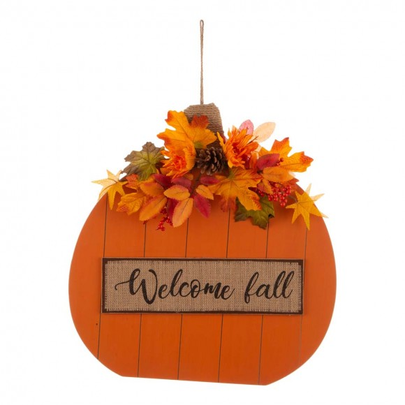"""Glitzhome 20.28""""H Fall Wooden Pumpkin with Floral Standing / Hanging Decor (Two Function)"""
