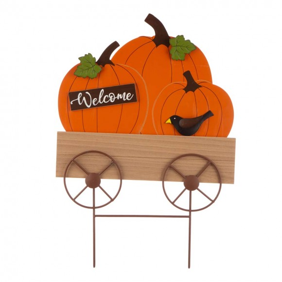 "Glitzhome 26.38""H Fall Metal/Wooden Pumpkin Cart Yard Stake/Hanging Decor"