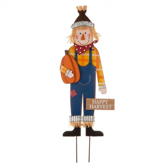 """Glitzhome 36""""H Fall Metal Scarecrow Yard Stake/Standing/Hanging Sign"""