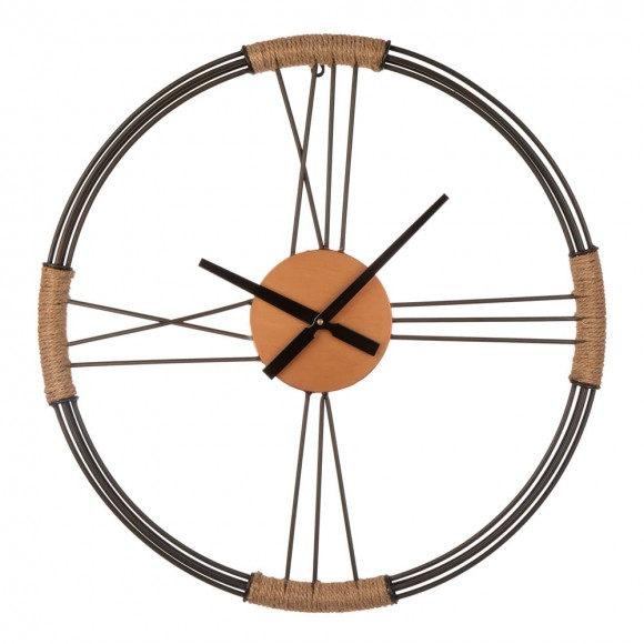 "Glitzhome 26.77""D Farmhouse Metal and Rope Wall Clock"