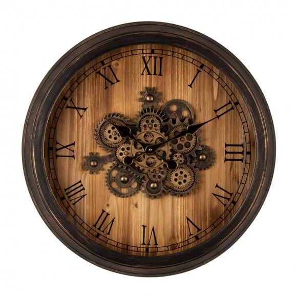 """Glitzhome 27.76""""D Vintage Industrial Oversized Wooden/Metal Wall Clock with Moving Gears"""