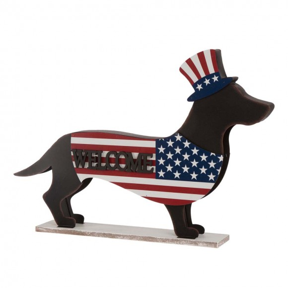 Glitzhome Wooden Metal Patriotic Double Sided Dachshund Porch Sign