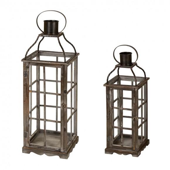 Glitzhome Set of 2 Oversized Farmhouse Wood and Metal Lantern