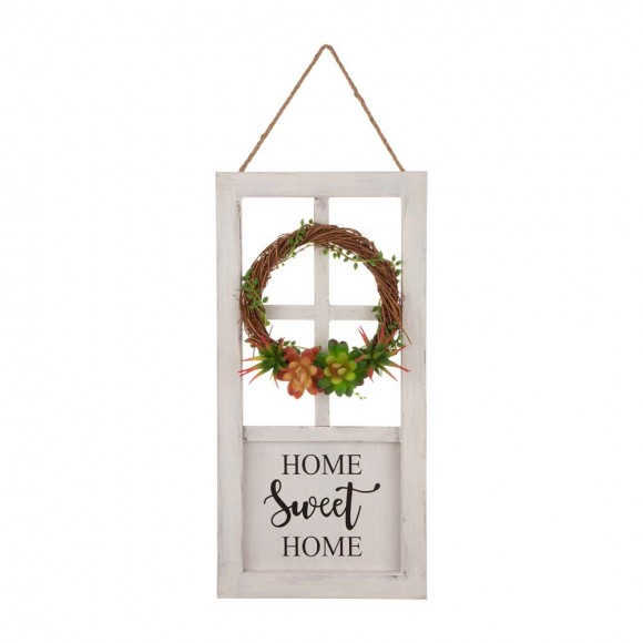 """Glitzhome 19.76""""H Wooden Door Frame Wall Decor with Wreath and Succulent Plants"""