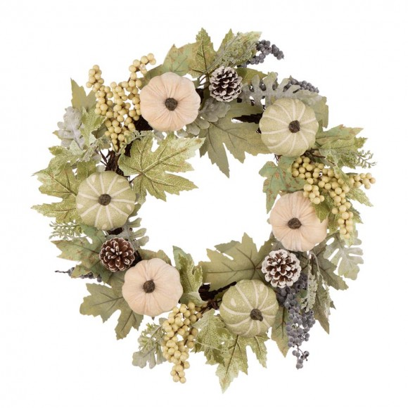 """【Pre-Order】Glitzhome 22""""D Pumpkin Wreath with Green Leaf and Berries — Ship After 9/24, 2021"""