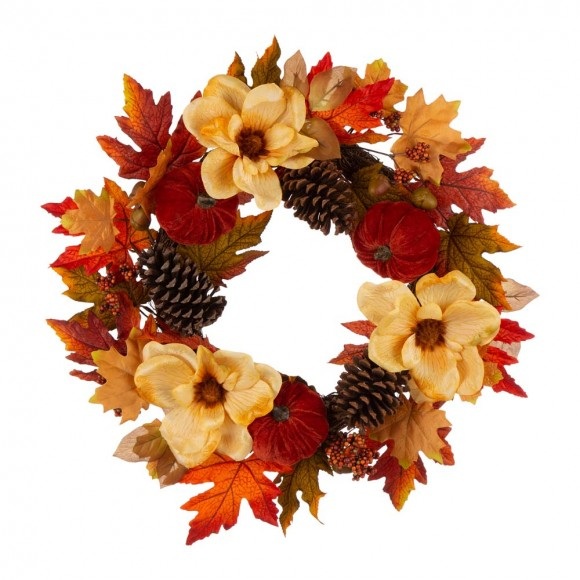 "Glitzhome 22""D Blooming Magnolia Wreath with Velvet Pumpkin and Pinecone"