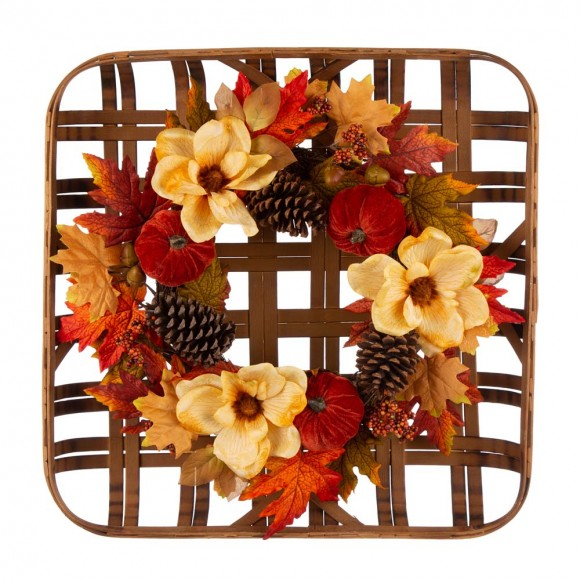 """Glitzhome 24""""L Bamboo Tobacco Basket with 22""""D Blooming Magnolia Wreath"""