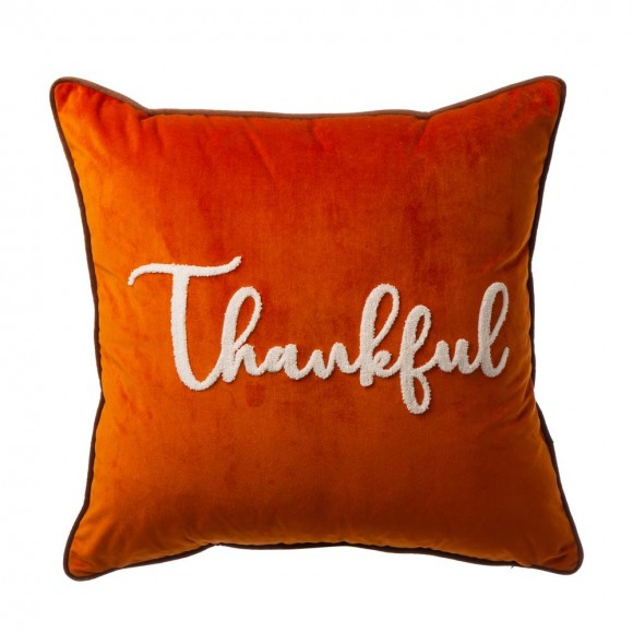 """Glitzhome 20""""L*20""""W Velvet Pillow Cover With """"Thankful"""" Word"""