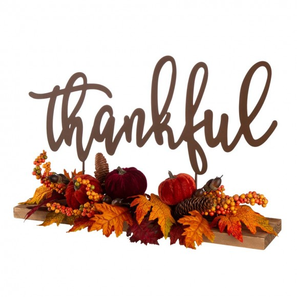 "Glitzhome 24""L Harvest ""Thankful"" Metal Sign Floral or Centerpiece"