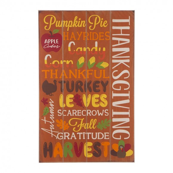 """Glitzhome 24.00""""H Thanksgiving Wooden Word Sign Hanging Decor"""
