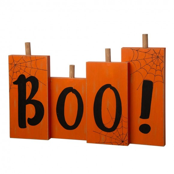 "Glitzhome 20""L Halloween Wooden Boo Standing Decor"