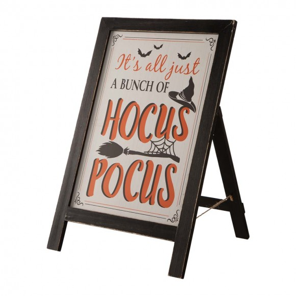 """Glitzhome 24""""H Halloween Wooden Sanding Easel Sign Decor or Hanging Decor (Two Function)"""