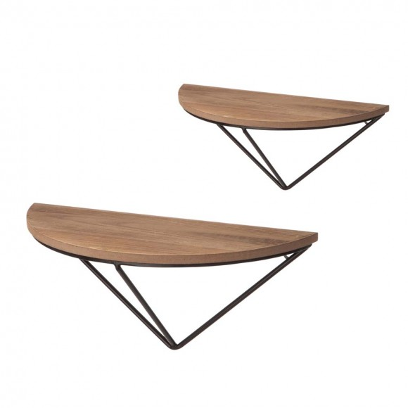 Glitzhome Farmhouse Metal/Wooden Half-round Shaped and Floating Wall Shelves,Set of 2