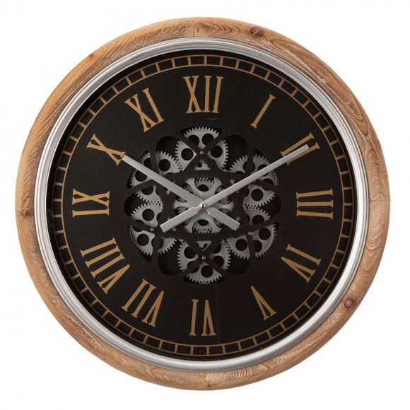 """Glitzhome 20.47""""D Vintage Industrial Metal Wall Clock with Moving Gears"""