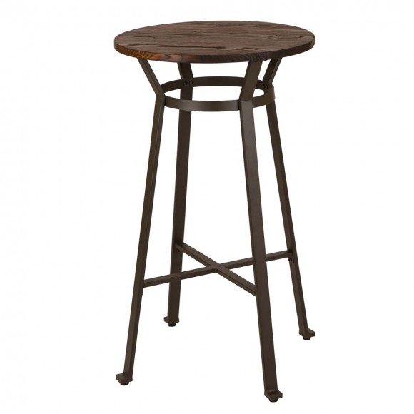 "Glitzhome 41""H Rustic Steel Pub Bar Table with Elm Wood Top"