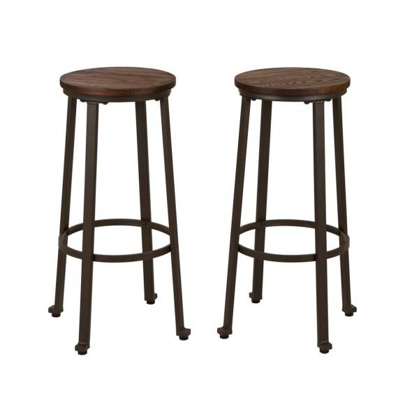 "Glitzhome S/2 29.92""H Rustic Steel Pub Bar Stools with Elm Wood Top"