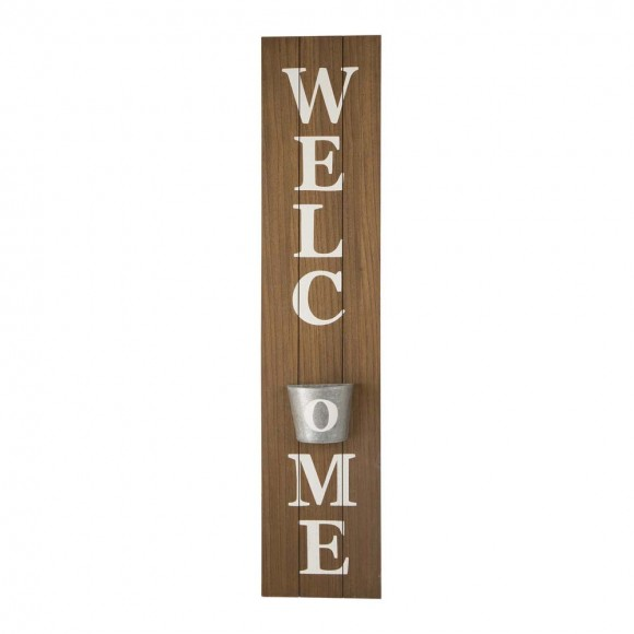 "Glitzhome 42""H Wooden ""WELCOME"" Porch Sign with Metal Planter"