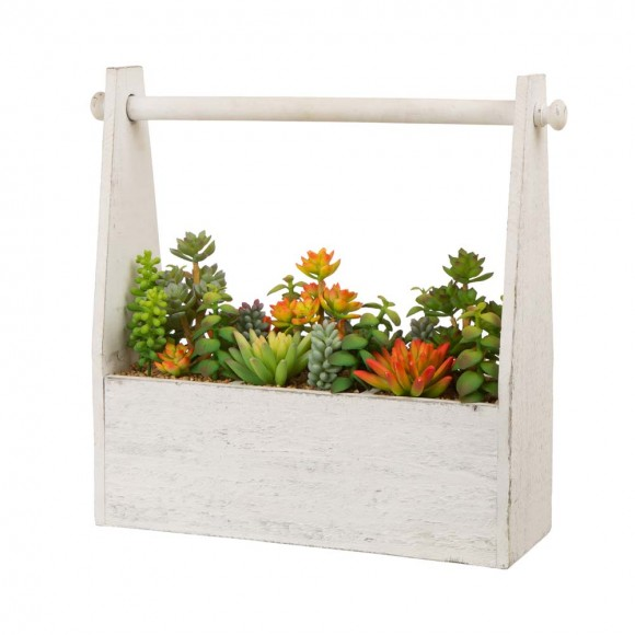 "Glitzhome 13.75""H Succulent Plants in Handled Wooden Box"