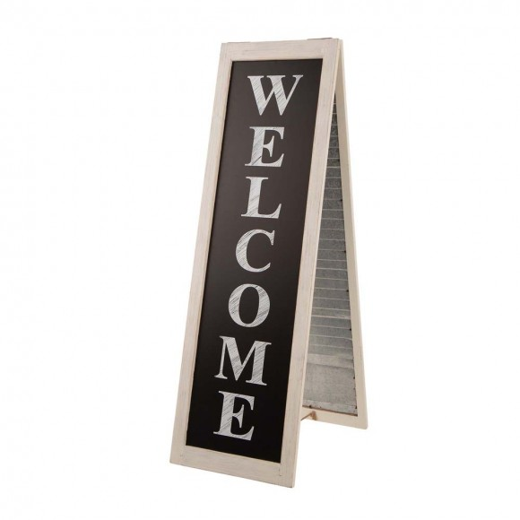 "Glitzhome 36""H Double Sided Wooden/Metal Shutter ""WELCOME"" Porch Sign Decor/Planter Stand"