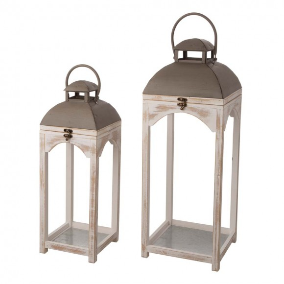 Glitzhome Set of 2 Modern Farmhouse Wooden Lantern