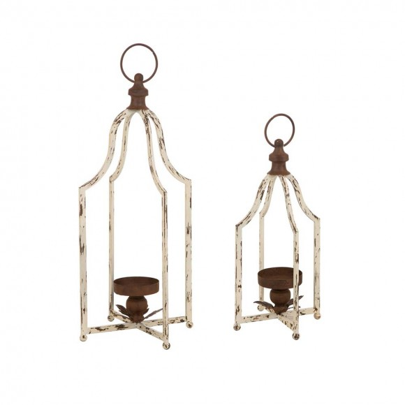 Glitzhome Set Of 2 Farmhouse Rustic Metal Lantern (Large and Small)