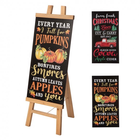 Glitzhome Double Sided Wooden Easel Porch Sign with One Changeable Sided Sign Board (Fall & Christmas)