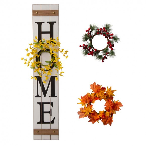 """Glitzhome 42""""H Wooden """"Home"""" Porch Sign with 3 Interchangeable Floral Wreaths(Spring/ Fall/ Christmas)"""