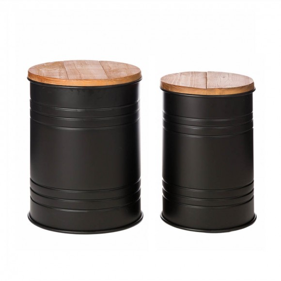 Glitzhome Black Metal Storage Accent Table or Stool with Solid Wood Lid - Set of 2