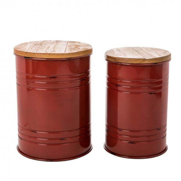 Glitzhome Red Metal Storage Accent Table or Stool with Solid Wood Lid - Set of 2