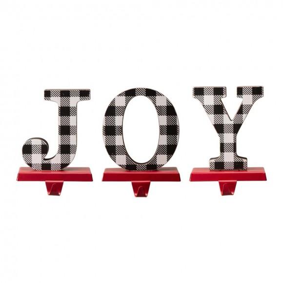 """Glithome Metal """"JOY"""" Christmas Stocking Holder Set of 3"""