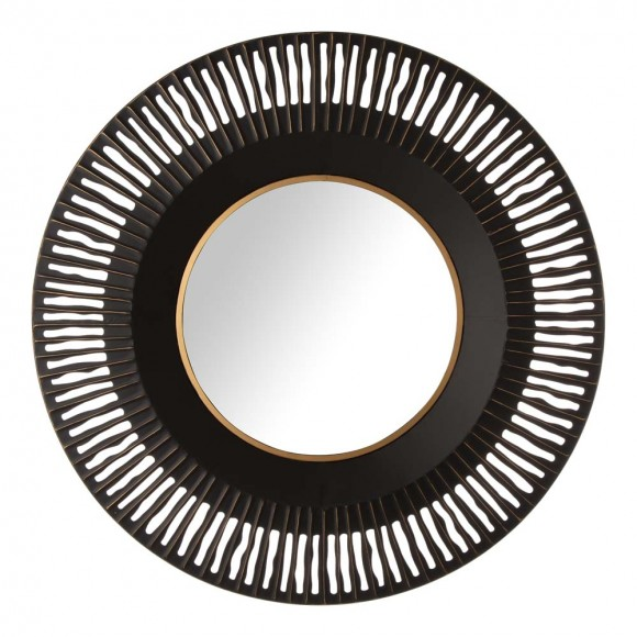 "Glitzhome 35""D Vintage Industrial Metal Round Wall Mirror Decor"
