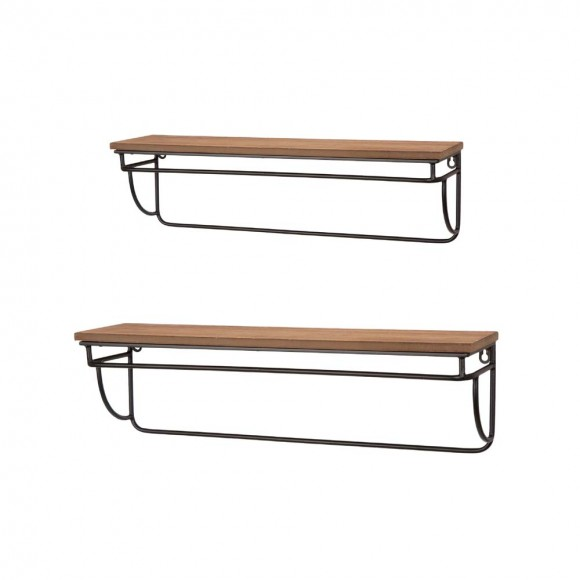 Glitzhome Farmhouse Metal/Wooden Wall Mounted Shelves Set of 2
