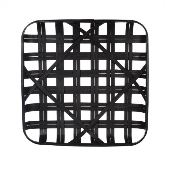"""Glitzhome 24""""L Vintage Black Bamboo Basket"""