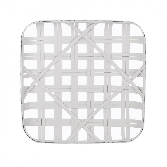 """Glitzhome 24""""L Vintage White Bamboo Basket"""