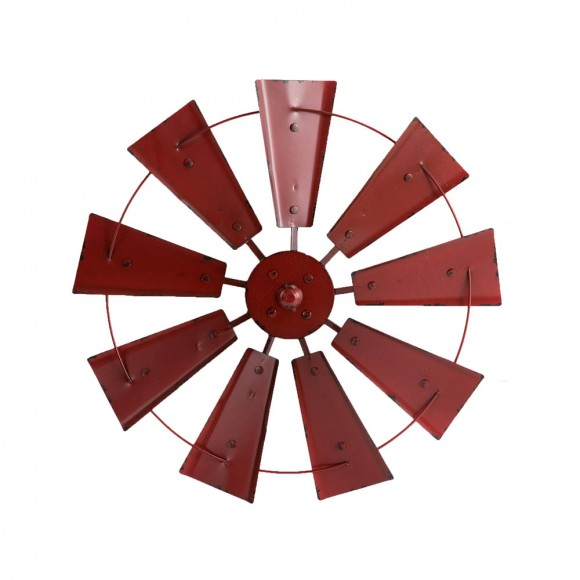"""Glitzhome 22.05""""D Vintage Red Metal Wind Spinner Wall Décor"""