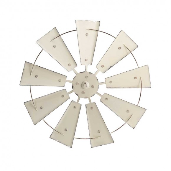 "Glitzhome 22.05""D Vintage Beige Metal Wind Spinner Wall Décor"