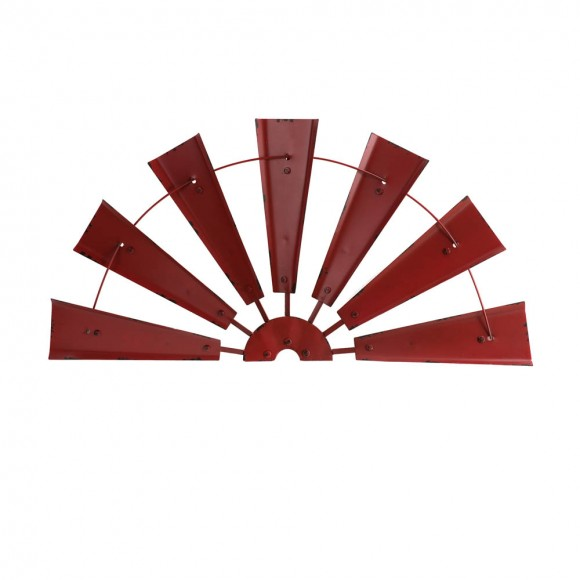 "Glitzhome 32""L Vintage Red  Half Wind Spinner Wall Decor"