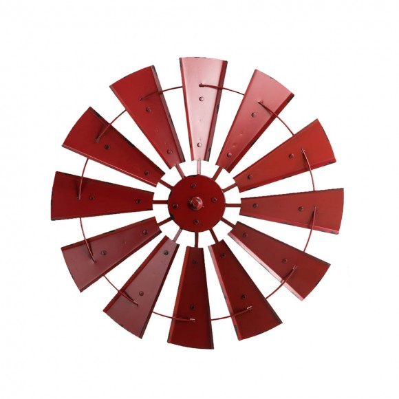 "Glitzhome 28.50""D Vintage Red Metal Wind Spinner Wall Décor"