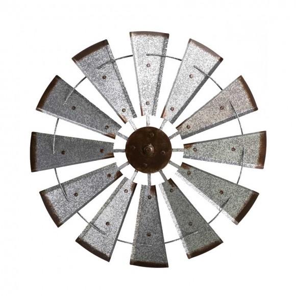 "Glitzhome 28.50""D Farmhouse Metal Galvanized Wind Spinner Wall Décor"