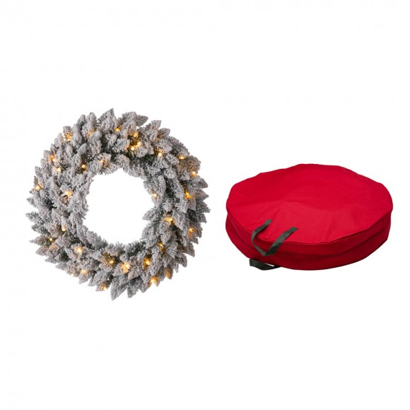 """Glitzhome 24""""D Pre-Lit Snow Flocked Christmas Wreath With a Red Canvas Storage Bag"""