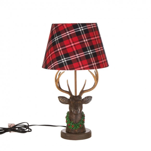 """Glitzhome 20.00""""H Vintage Reindeer Table Lamp with Plaid Shade"""
